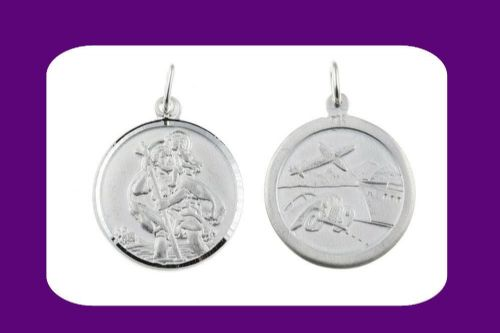 Saint Christopher Pendant Sterling Silver 925 Hallmark 17mm All Chain Lengths
